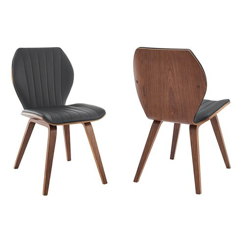 Ontario Gray Faux Leather and Walnut Wood Dining Chairs - Set of 2