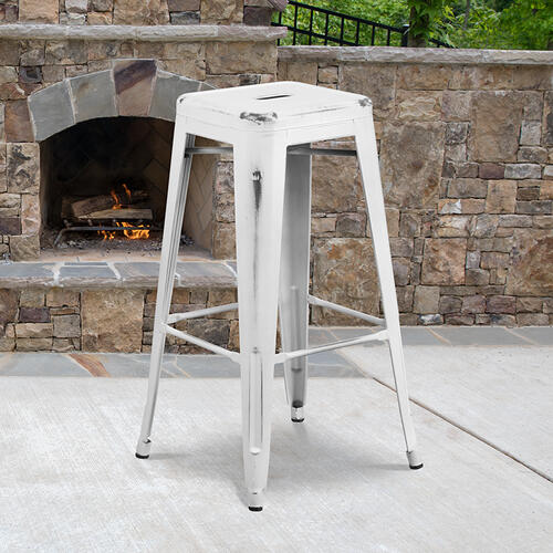 "Commercial Grade 30"" High Backless Distressed White Metal Indoor-Outdoor Barstool"