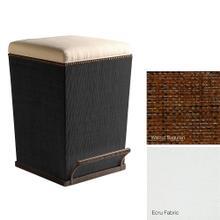 Ecru Fabric Purveyor Counter Stool in Walnut Finish