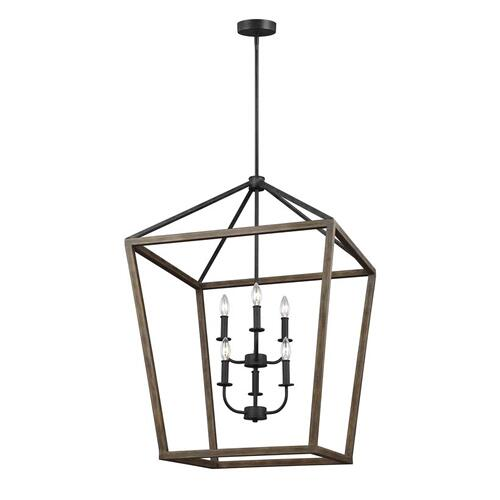 Gannet Large Chandelier Weathered Oak Wood / Antique Forged Iron