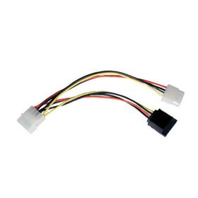 15-Pin SATA (Male) to 4-Pin (Female) / 4-Pin (Male) Power Cable - 6 in.