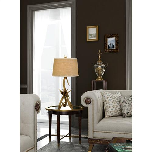 150W 3 Way Drummond Antler Resin Table Lamp With Burlap Shade