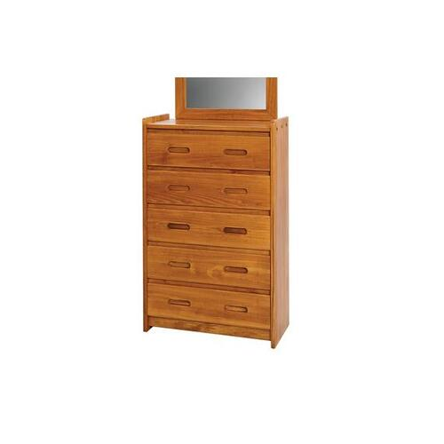 Woodcrest - Heartland 5 Drawer Chest with options: Chocolate