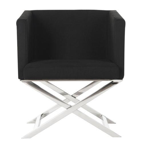 Celine Chrome Cross Leg Chair - Black / Chrome