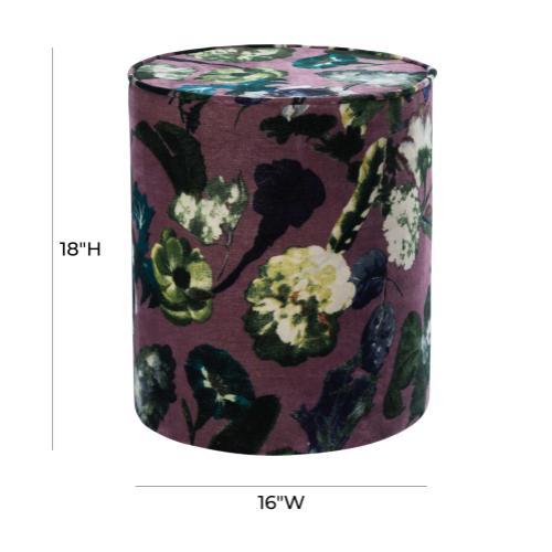 Tov Furniture - Boho Floral Velvet Pouf
