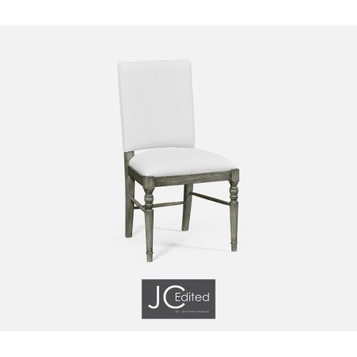 Antique Dark Grey Side Chair, Upholstered in COM