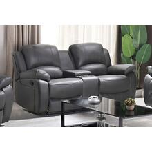 Boris Recliner Loveseat With Console Grey