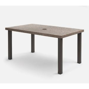 """42"""" x 62"""" Rectangular Balcony Table (with Hole) Ht: 34.25"""" Post Aluminum Base (Model # Includes Both Top & Base)"""