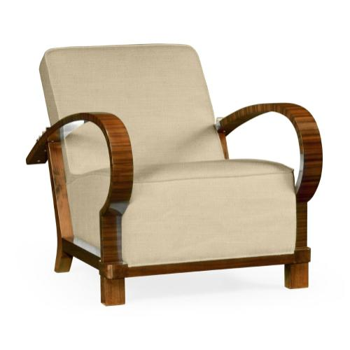 Moderne High Lustre Santos Rosewood Armchair, Upholstered in MAZO