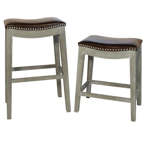 Elmo Bonded Leather Counter Stool Mystique Gray Frame, Brown