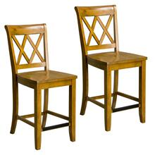 See Details - Vintage Distressed 2-Pack Honey Oak Counter Height Stools