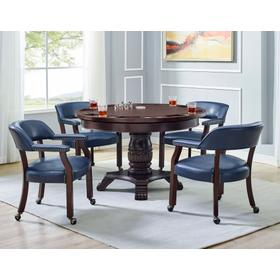 Tournament 6 Piece Dining/Game Table Set - Blue Chairs (Dining Table, Brown Game Top, & 4 Captain's Chairs)