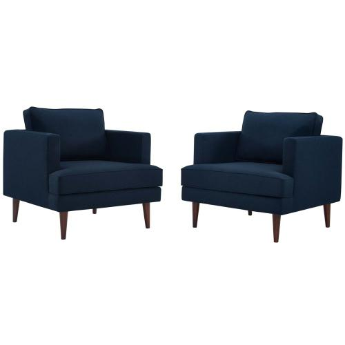 Modway - Agile Upholstered Fabric Armchair Set of 2 in Blue