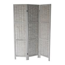 See Details - 7040 GRAY Rustic Woven 3-Panel Room Divider