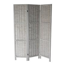 7040 GRAY Rustic Woven 3-Panel Room Divider
