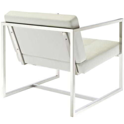 Hover Upholstered Vinyl Lounge Chair in White