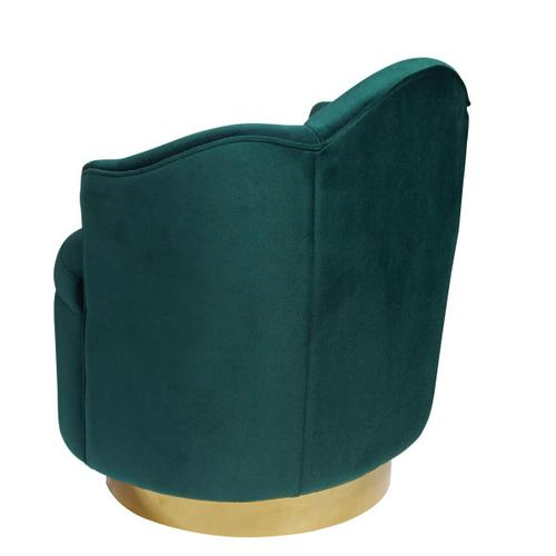Upholstered Panel Back Swivel Chair in Emerald Green
