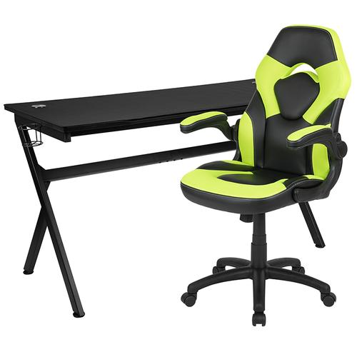 Flash Furniture - Gaming Desk and Green\/Black Racing Chair Set \/Cup Holder\/Headphone Hook\/Removable Mouse Pad Top - 2 Wire Management Holes