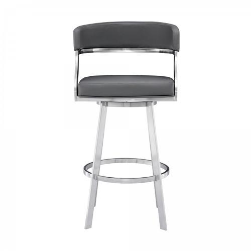 """Saturn Contemporary 26"""" Counter Height Barstool in Brushed Stainless Steel Finish and Grey Faux Leather"""