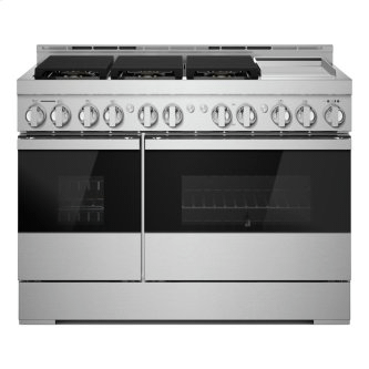 """48"""" NOIR™ Gas Professional-Style Range with Chrome-Infused Griddle"""