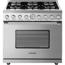 """See Details - Range DECO 36"""" Classic Stainless steel, Chrome 6 gas, gas oven"""