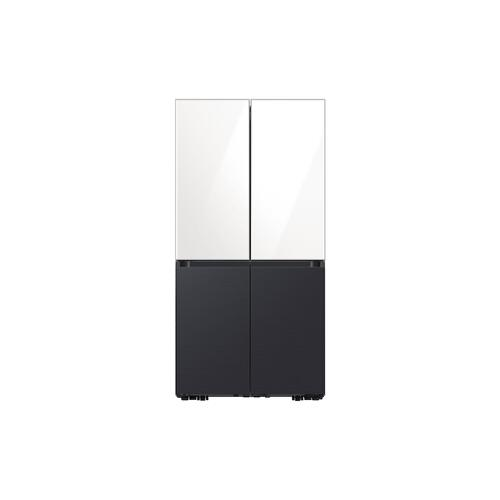 Gallery - 29 cu. ft. Smart BESPOKE 4-Door Flex™ Refrigerator with Customizable Panel Colors in White Glass Top and Matte Black Steel Bottom
