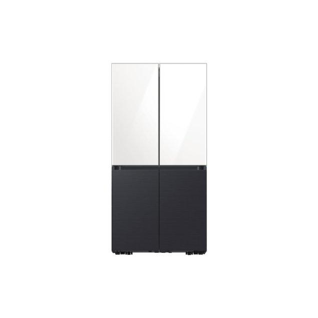 Samsung Appliances 29 cu. ft. Smart BESPOKE 4-Door Flex™ Refrigerator with Customizable Panel Colors in White Glass Top and Matte Black Steel Bottom