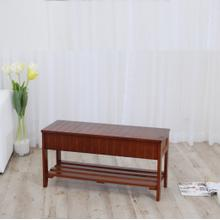 Product Image - Rennes Cherry Finish Quality Solid Wood Shoe Bench With Storage