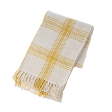Ochre & Natural Plaid Woven Throw