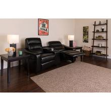 See Details - Futura Series 2-Seat Reclining Black LeatherSoft Theater Seating Unit with Cup Holders