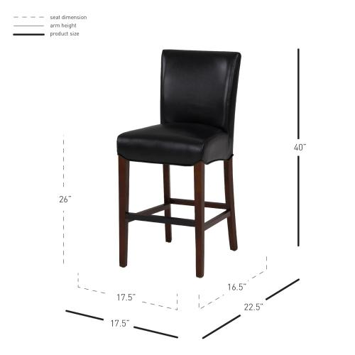 Product Image - Milton Bonded Leather Counter Stool, Black