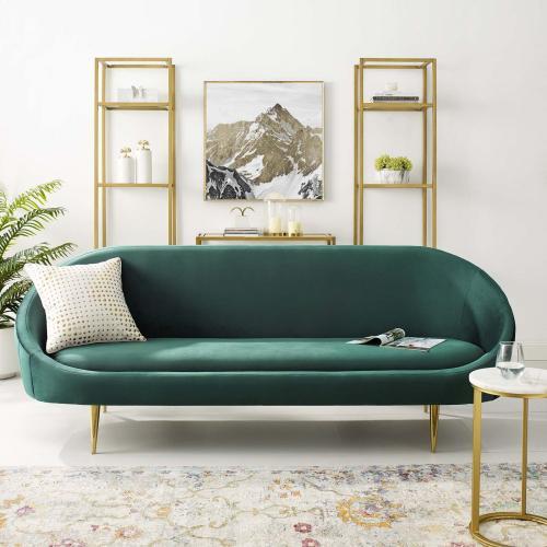 Sublime Vertical Curve Back Performance Velvet Sofa in Green