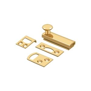 """2"""" Surface Bolt, Concealed Screw, HD - PVD Polished Brass Product Image"""