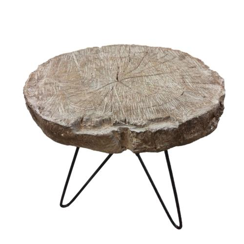 Alva Round End Table Black Legs, Natural
