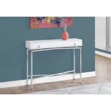 """ACCENT TABLE - 42""""L / GLOSSY WHITE / CHROME HALL CONSOLE"""