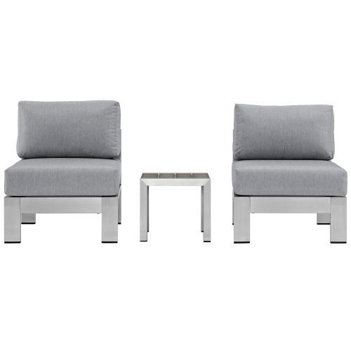 Shore 3 Piece Outdoor Patio Aluminum Sectional Sofa Set in Silver Gray