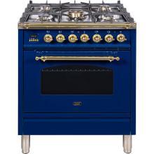 See Details - Nostalgie 30 Inch Dual Fuel Liquid Propane Freestanding Range in Blue with Brass Trim