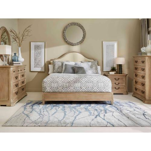 Kirby Upholstered Queen Bed Bone Weathered Oak Oiled Bronze