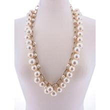 BTQ Faux Pearl Necklace with Gold Chain