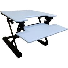 See Details - Hanover 27-In. Wide White Tabletop Sit or Stand Lift Desk with Adjustable Height for Offices, Schools, and Writing Stations, HSD0401-WHT