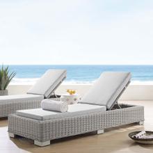 Conway Sunbrella® Outdoor Patio Wicker Rattan Chaise Lounge in Light Gray Gray