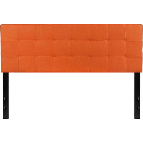 Bedford Tufted Upholstered Queen Size Headboard in Orange Fabric