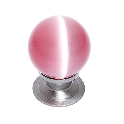 Satin Nickel 30 mm Pink Cat's Eye Knob