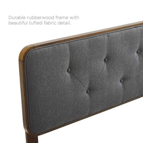 Collins Tufted Twin Fabric and Wood Headboard in Walnut Charcoal