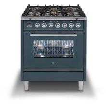 Professional Plus 30 Inch Dual Fuel Natural Gas Freestanding Range in Blue Grey with Chrome Trim