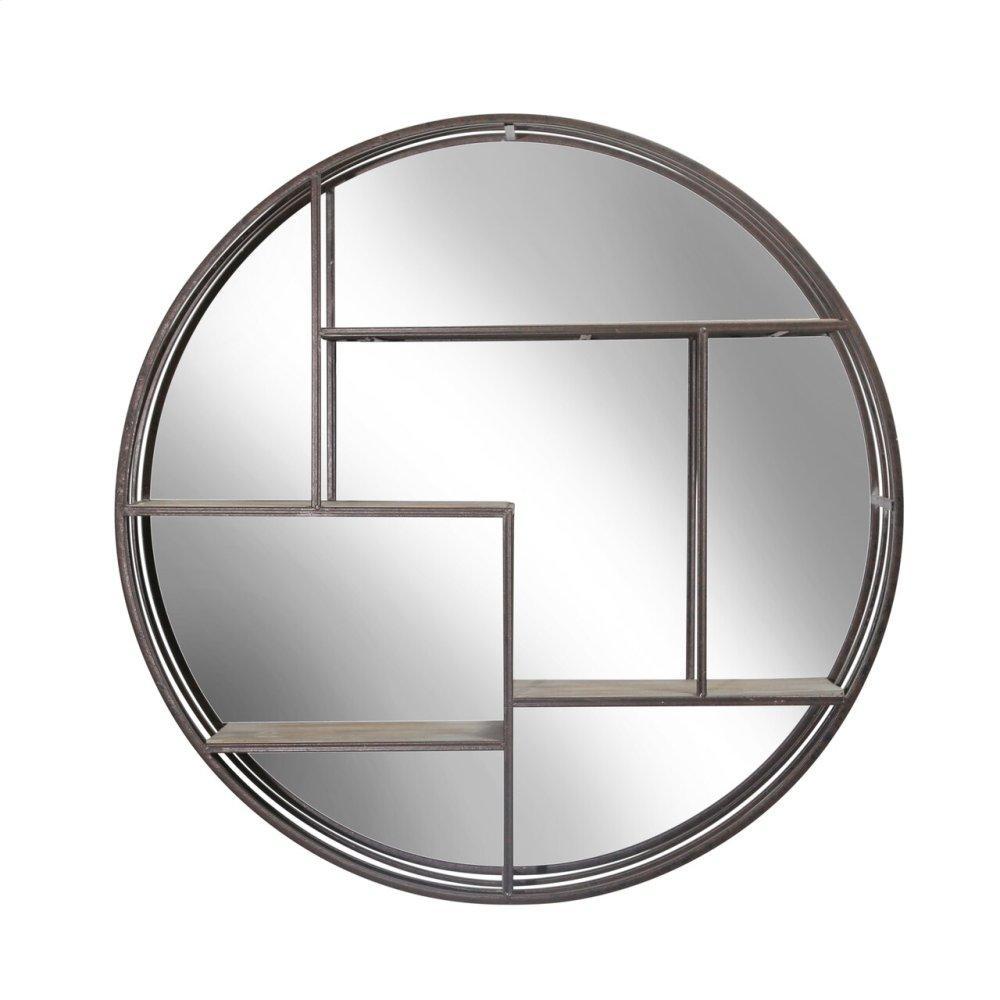 "Round 31.5"" Wood/metal Wall Shelf W/ Mirror, Brown"