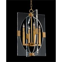 Acrylic and Brass Frame Four-Light Pendant