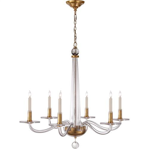 Visual Comfort CHC1140AB E. F. Chapman Robinson 6 Light 32 inch Crystal with Brass Chandelier Ceiling Light in Antique-Burnished Brass