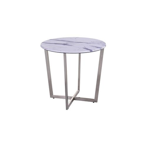 Porter International Designs - Pompei Round Marble-Look End Table, 1880