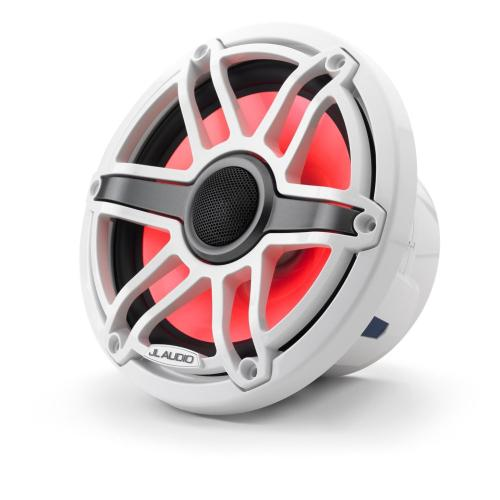 JL Audio - 7.7-inch (196 mm) Marine Coaxial Speakers with Transflective™ LED Lighting, Gloss White Trim Ring, Gloss White Sport Grille